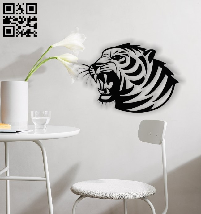 Tiger roar wall decor E0013633 file cdr and dxf free vector download for laser cut plasma