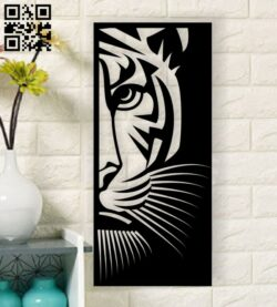 Tiger wall decor E0013590 file cdr and dxf free vector download for laser cut plasma