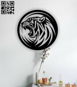 Tiger wall decor E0013631 file cdr and dxf free vector download for laser cut
