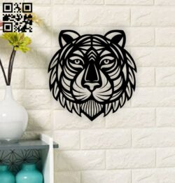 Tiger wall decor E0013632 file cdr and dxf free vector download for laser cut plasma