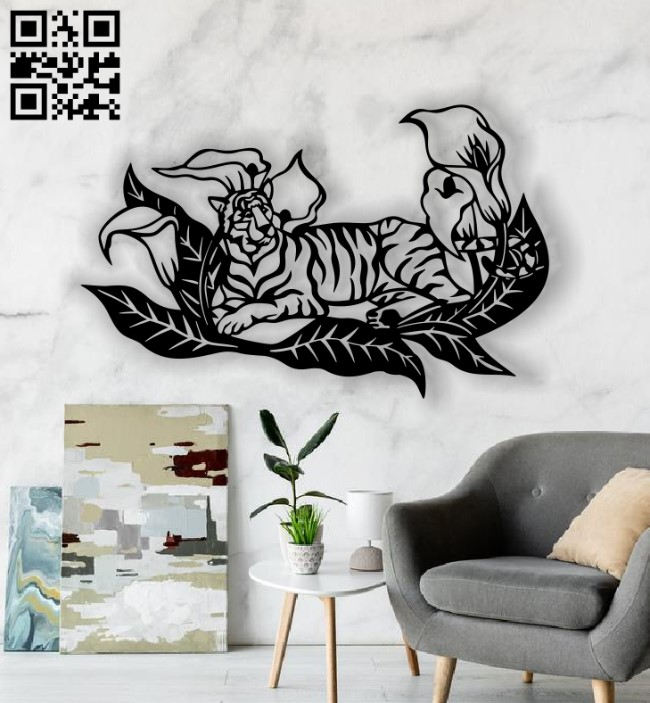 Tiger with flower E0013572 file cdr and dxf free vector download for laser cut plasma
