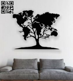 Tree E0013648 file cdr and dxf free vector download for laser cut plasma
