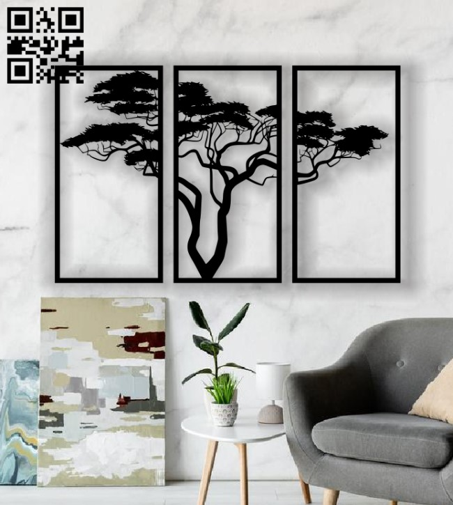 Tree panel E0013599 file cdr and dxf free vector download for laser cut plasma