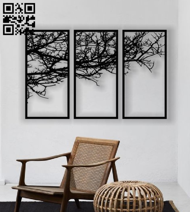 Tree panel E0013600 file cdr and dxf free vector download for laser cut plasma
