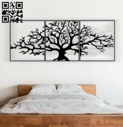 Tree wall decor E0013628 file cdr and dxf free vector download for laser cut plasma