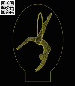 3D illusion led lamp Gymnasts E0013957 file cdr and dxf free vector download for laser engraving machine