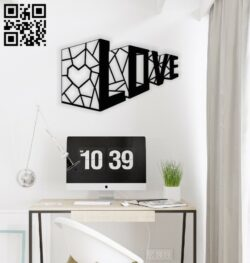 3D love wall decor E0013948 file cdr and dxf free vector download for laser cut plasma