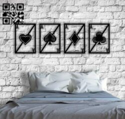 Aces cards wall decor E0013836 file cdr and dxf free vector download for laser cut plasma