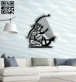 Ancient lady plays harp E0013845 file cdr and dxf free vector download for laser cut plasma