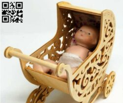 Baby stroller E0013995 file cdr and dxf free vector download for laser cut