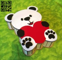 Bear box E0013890 file cdr and dxf free vector download for laser cut