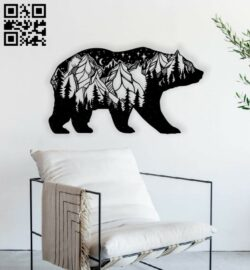 Bear wall art E0013792 file cdr and dxf free vector download for laser cut plasma