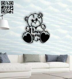 Bear wall decor E0013819 file cdr and dxf free vector download for laser cut plasma