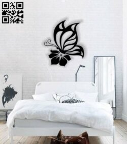Butterfly with flower wall decor E0013797 file cdr and dxf free vector download for laser cut plasma