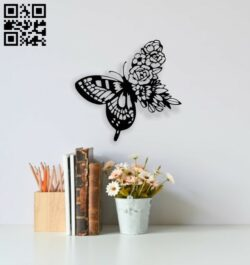 Butterfly with flowers E0014031 file cdr and dxf free vector download for laser cut plasma