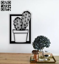 Cactus wall decor E0014036 file cdr and dxf free vector download for laser cut plasma