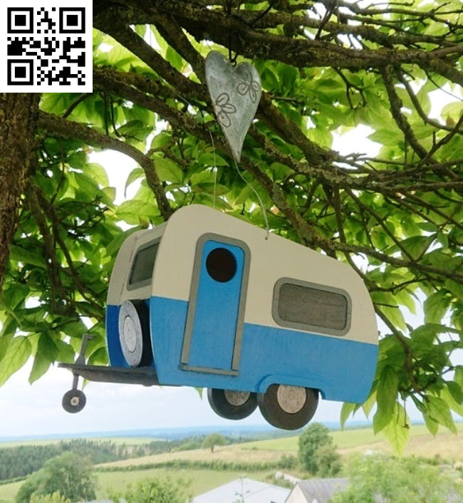 Caravan bird house E0013997 file cdr and dxf free vector download for laser cut