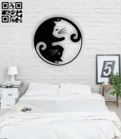 Cat ying yang E0013856 file cdr and dxf free vector download for laser cut plasma