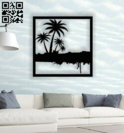Coconut tree wall decor E0013868 file cdr and dxf free vector download for laser cut plasma