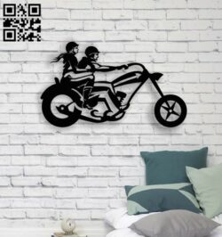 Couple on motorbike E0013855 file cdr and dxf free vector download for laser cut plasma