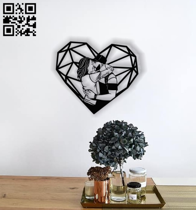 Couple with heart E0013788 file cdr and dxf free vector download for laser cut plasma