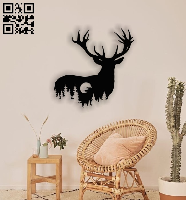 Deer with moon E00137884 file cdr and dxf free vector download for laser cut plasma