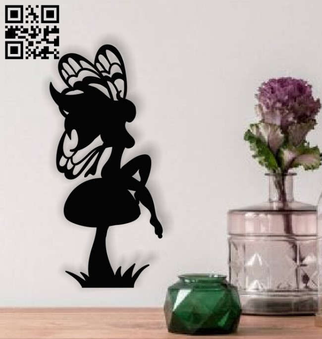 Fairy with mushroom E0013910 file cdr and dxf free vector download for laser cut plasma