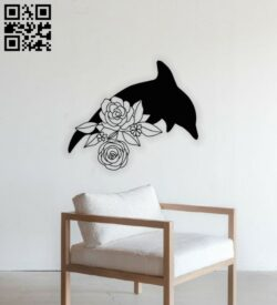 Floral dolphin E0014065 file cdr and dxf free vector download for laser cut plasma