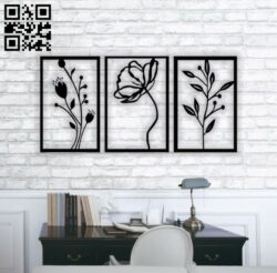 Flowers wall decor E0013814 file cdr and dxf free vector download for laser cut plasma