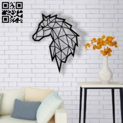 Geometric horse E0013747 file cdr and dxf free vector download for laser cut plasma