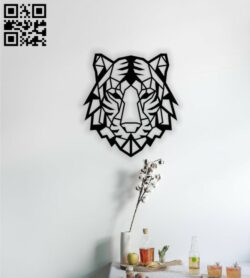 Geometric tiger E0014018 file cdr and dxf free vector download for laser cut plasma