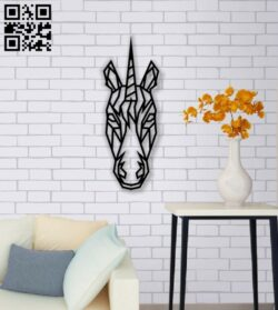 Geometric unicorn E0013944 file cdr and dxf free vector download for laser cut plasma