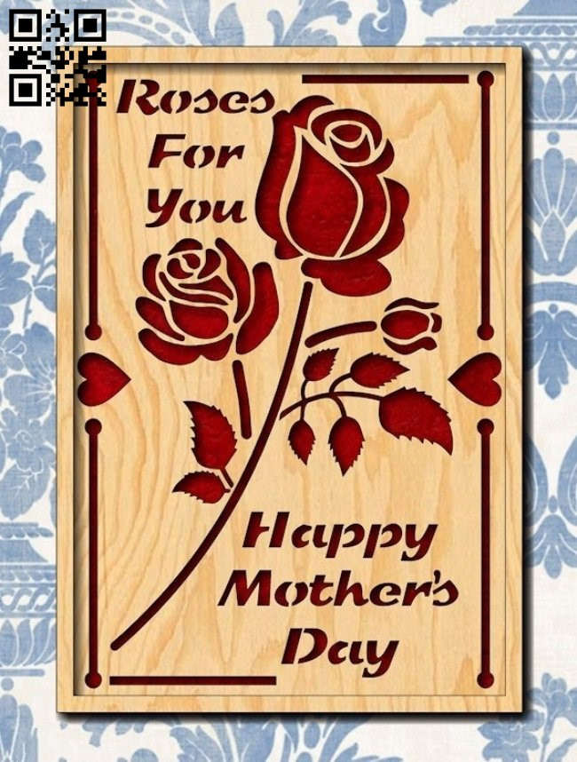 Happy mother's day card E0013866 file cdr and dxf free vector download for laser cut