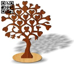 Heart tree E0013746 file cdr and dxf free vector download for laser cut