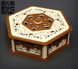 Hexagonal box E0014029 file cdr and dxf free vector download for laser cut