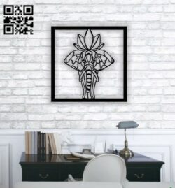 Hindu elephant wall decor E0013838 file cdr and dxf free vector download for laser cut plasma