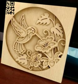Hummingbird E0013825 file cdr and dxf free vector download for laser cut