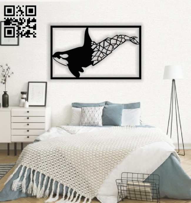 Humpback whale wall decor E0013832 file cdr and dxf free vector download for laser cut plasma