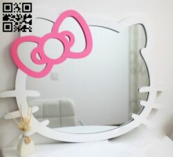 Kitty mirror frame E0013998 file cdr and dxf free vector download for laser cut