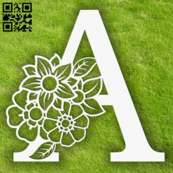 Letter A with flowers E0013749 file cdr and dxf free vector download for laser cut plasma