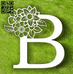 Letter B with flowers E0013750 file cdr and dxf free vector download for laser cut plasma