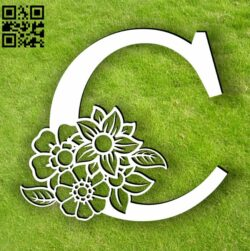 Letter C with flowers E0013751 file cdr and dxf free vector download for laser cut plasma