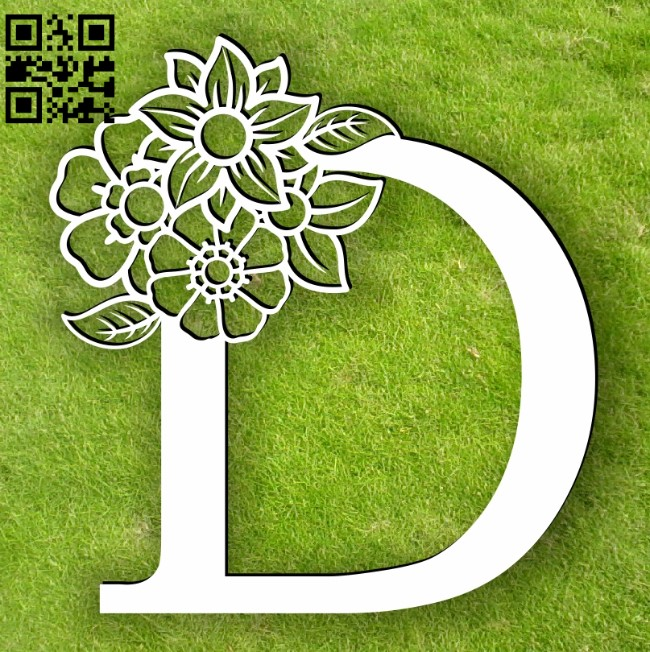 Letter D with flowers E0013752 file cdr and dxf free vector download for laser cut plasma