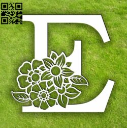 Letter E with flowers E0013753 file cdr and dxf free vector download for laser cut plasma