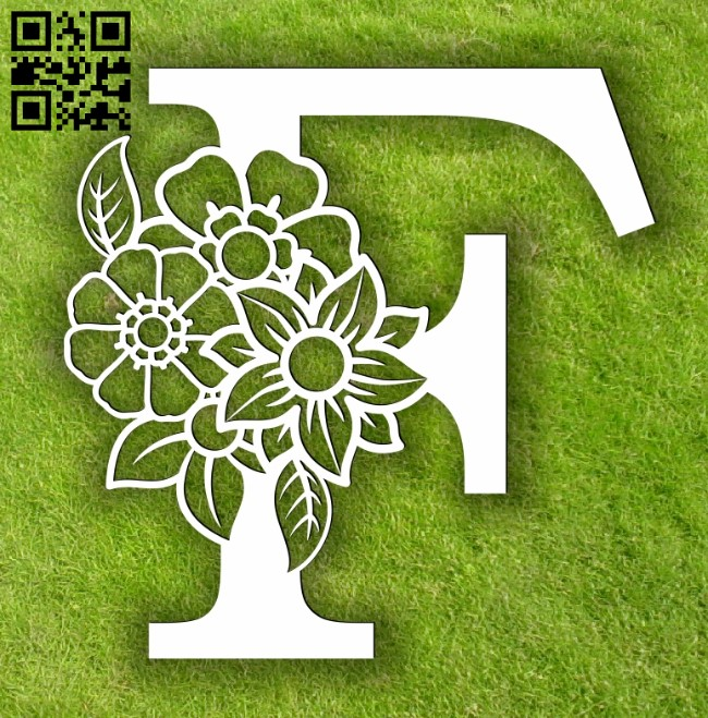 Letter F with flowers E0013897 file cdr and dxf free vector download for laser cut plasma
