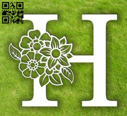 Letter H with flowers E0013899 file cdr and dxf free vector download for laser cut plasma