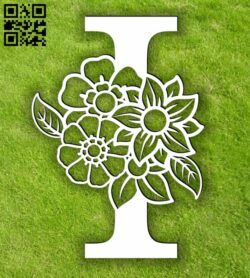Letter I with flowers E0013900 file cdr and dxf free vector download for laser cut plasma