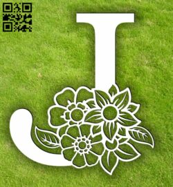 Letter J with flowers E0013901 file cdr and dxf free vector download for laser cut plasma