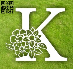 Letter K with flowers  E0014067 file cdr and dxf free vector download for laser cut plasma