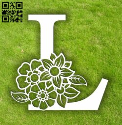 Letter L with flowers  E0014068 file cdr and dxf free vector download for laser cut plasma